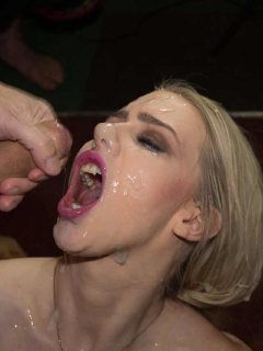 Bukkake party for hot blondes Grace Harper and Ava